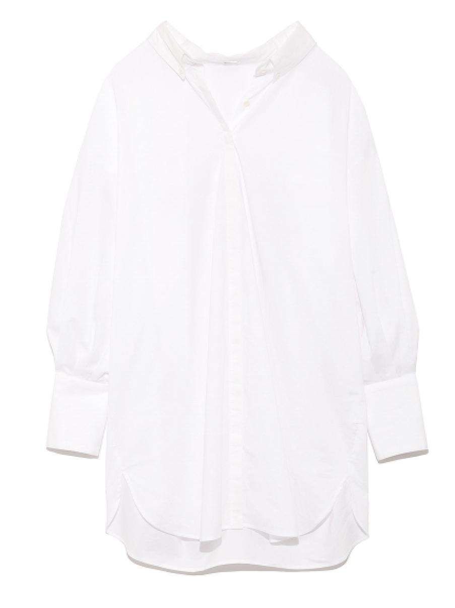 ボリュームスリーブロングシャツ:ホワイト